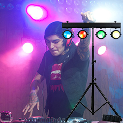 American DJ DOTZ-TPAR-SYS Lighting package including Light Stand 4 COB LED Par Etc