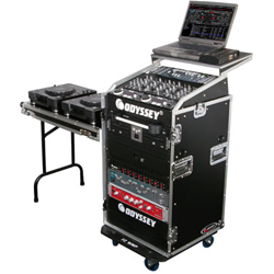 Odyssey FRGS1016WDLX Glide Style 10 Space x 16 Space Combo Rack Case with Wheels and Side Table