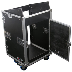 Odyssey FZ1014W Flight Zone ATA Combo Rack With Wheels 10u Top Slanted Rack Spaces & 14u Bottom Vertical Rack Spaces