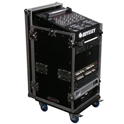 Odyssey FZ1116W Flight Zone ATA Combo Rack with Wheels 11u Top Slanted & 16u Bottom Vertical Rack Spaces