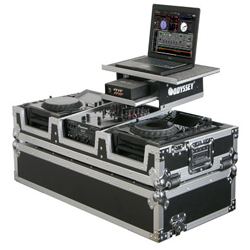 """Odyssey FZGS10CDJW Flight Ready Glide Style DJ CoffinCase for 10"""" Mixer and two Large Format CD/Digital Media Players"""