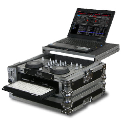 Odyssey FZGS4MXGT Hercules 4-MX Flight Zone Glide Style Case with Pullout Keyboard Tray