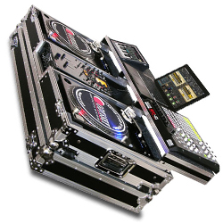 """Odyssey FZGSPBM10W Flight Ready Case For Two Turntables In Battle Position and a 10"""" Width Mixer"""