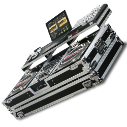 """Odyssey FZGSPBM12W Flight Ready Case Holds Two Turntables In Battle Position and a 12"""" Width Mixer"""