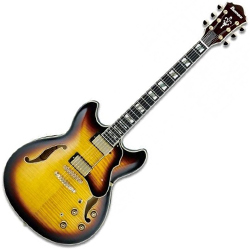 Ibanez AS153-AYS Antique Yellow Sunburst Hollowbody Guitar with Hardshell Case