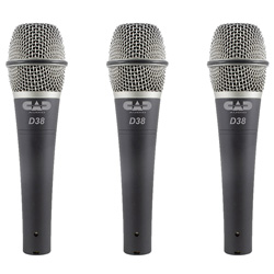 CAD Audio D38X3 Microphone 3 Pack Supercardioid Dynamic Handheld Microphones