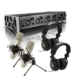 Tascam US-4x4TP TrackPack Recording Package with Audio Interface, Mics, Headphones, and DAW Software