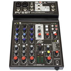 Peavey 03612590 PV 6 BT 6 Channel Mixer with Digital Effects and Bluetooth