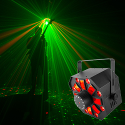 Chauvet Swarm Wash FX Multi Effects Light with RGBAW Derby, RGB+UV Wash, Red/Green Laser, and Strobe Lights