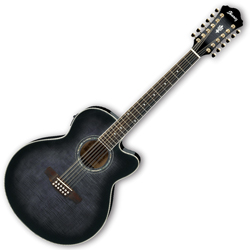 Ibanez AEL2012E-TKS AEL Series 12 String Acoustic Electric Guitar in Transparent Black Sunburst High Gloss (discontinued clearance)