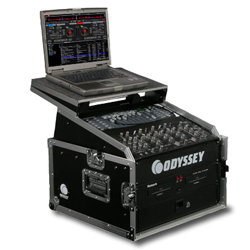 Odyssey FZGS1004 Pro Combo Rack Flight Case with Top Gliding Platform with 10U Top Slant and 4U Bottom Spaces