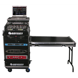 Odyssey FZGS1116WDLX Pro Combo Rack Flight Case with Top Gliding Platform with 10U Top Slant/16U Bottom Spaces and Side Table