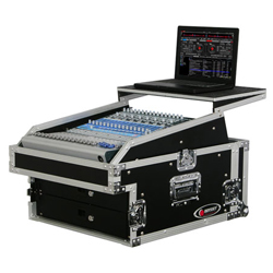 Odyssey FZGS1304 Pro Combo Rack Flight Case with Top Gliding Platform with 13U Top Slant and 4U Bottom Spaces
