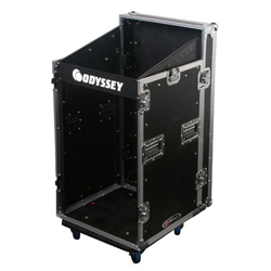 Odyssey FZSRP1116W Flight Zone Combo Rack Case with Wheels and 11U Top Slant and 16U Bottom Spaces