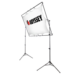 Odyssey LTMVSS1RT Mobile VSS-1RT Raise and Tilt Video Projection Screen System Includes Tripod Frame and Screen