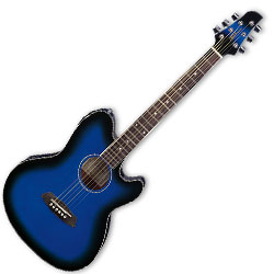 Ibanez TCY10E-TBS 6 String Talman Double Cutaway Body with Preamp in Transparent Blue Sunburst Finish