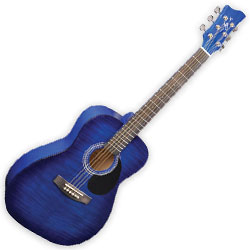 Jay Turser JJ43FBLSB Jay J Three Quarter Acoustic Guitar in Blue Sunburst
