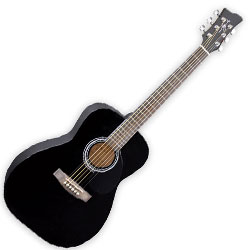 Jay Turser JJ43BK Jay J Three Quarter Sized Acoustic Guitar in Black
