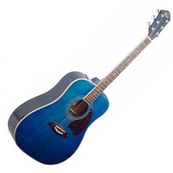 Oscar Schmidt OG2TBL-A Dreadnought Acoustic RH 6 Str. Guitar - Trans Blue (discontinued clearance)