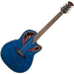 Ovation CE44P-8TQ Celebrity Elite Plus RH 6 String Acoustic Electric Guitar- Blue Transparent Quilt