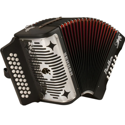 Hohner 3100FB Panther Diatonic Accordion in key of F/Bb/Eb in Black