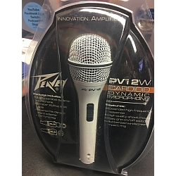 Peavey 00496360 PVI2XLRWHITE Cardioid Unidirectional Dynamic Vocal Microphone in White with XLR cable mic clip and pouch