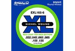 D'addario EXL1656 Regular Light Top Medium Bottom 6 String Electric Bass Guitar Set
