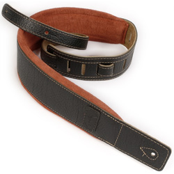 Godin 026081 Black Leather/Rust Suede Guitar Strap