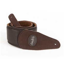 Simon and Patrick 036837 Brown Padded Suede w/Patch Logo Guitar Strap