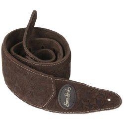 Simon & Patrick 036875 Brown Paisley Padded Suede w/Patch Logo Guitar Strap