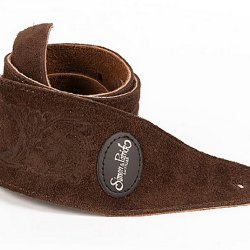 Simon & Patrick 037315 Brown Western Suede w/Patch Logo Guitar Strap