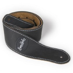Simon & Patrick 037070 Mat Black Leather w/Patch Logo Guitar Strap