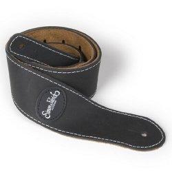 Simon and Patrick 037070 Mat Black Leather w/Patch Logo Guitar Strap