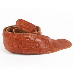 Simon and Patrick 036974 Saddle Brown Padded w/Embossed Logo Guitar Strap