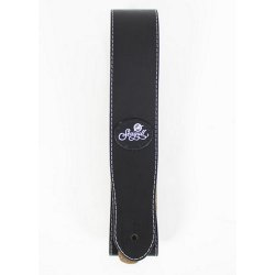 Seagull 037087 Mat Black Leather Guitar Strap w/Patch Logo