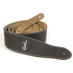 Godin 037261 Mat Black Leather Guitar Strap w/Contrast Stitching