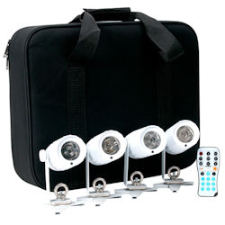 American DJ PINPOINT-GO-PAK (4) 3W White LED Pinspot with remote & carrying case