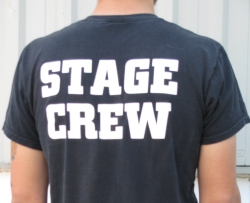 Stage Crew T Shirt 100% pure cotton - Roadcase Black or Roadie Blue