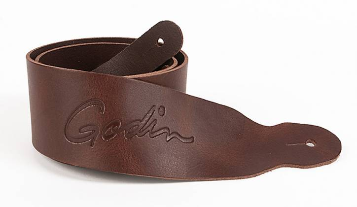 Godin 037308 Classic Brown Leather Strap w/Embossed Logo Product Image 2