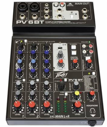 Peavey 03612590 PV 6 BT 6 Channel Mixer with Digital Effects and Bluetooth Product Image 2