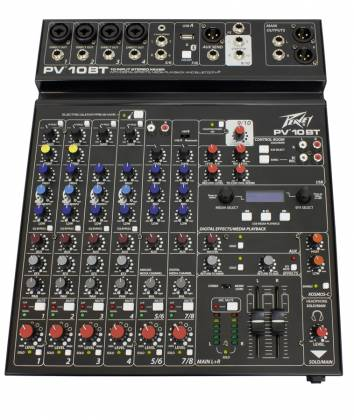 Peavey 03612790 PV 10 BT 10 Channel Mixer with Digital Effects and Bluetooth Product Image 2
