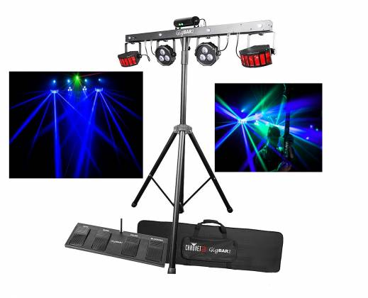 Chauvet DJ GigBAR 2 All inclusive 4-in-1 Lighting Package with 2 Wash Lights, 2 Derby Lights, a Laser, 4 Strobe Lights gig-bar-2 Product Image
