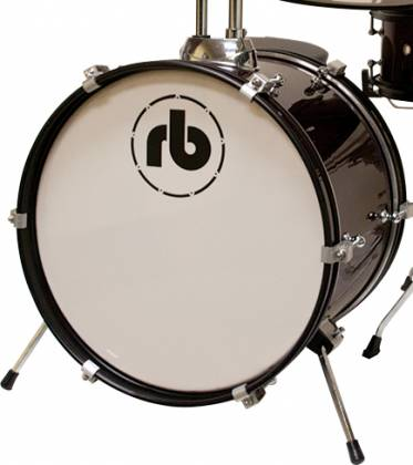 RB Drums RBJR3BK Black 3 Piece Junior Acoustic Drum Kit rb-jr-3-bk Product Image 2