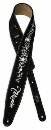 Takamine TKSS3 Leather Guitar Strap-Black with Grass Flower Pattern Product Image 4
