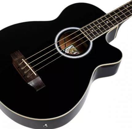 Oscar Schmidt OB100B-A  4-String RH Acoustic/Electric Bass with Gigbag-Black Product Image 7
