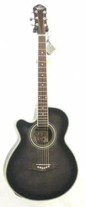Oscar Schmidt OG10CEFTBLH-A Concert Size Thin Body 6 String LH Acoustic/Electric Guitar-Flame Trans Black og-10-ceftb-lh-a Product Image 4