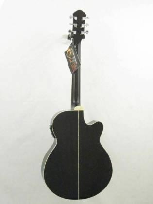 Oscar Schmidt OG10CEFTBLH-A Concert Size Thin Body 6 String LH Acoustic/Electric Guitar-Flame Trans Black og-10-ceftb-lh-a Product Image 3