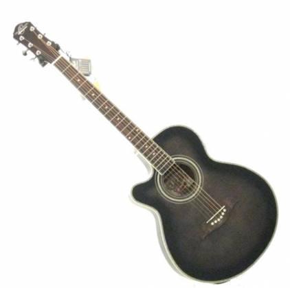 Oscar Schmidt OG10CEFTBLH-A Concert Size Thin Body 6 String LH Acoustic/Electric Guitar-Flame Trans Black og-10-ceftb-lh-a Product Image