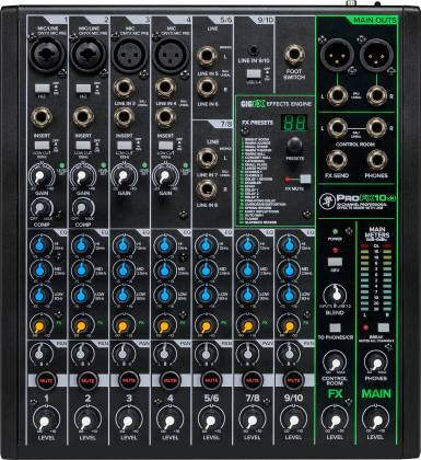 Mackie ProFX-10 v 3 ProFXv3 Series 10-Channel Professional Effects Mixer with USB and Pro Tools First Software Product Image 8