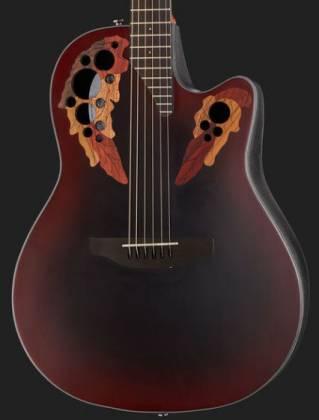 Ovation CE44-RRB Celebrity Elite Mid Depth 6-String RH Acoustic Electric Guitar-Reverse Red Burst ce-44-rrb Product Image 11
